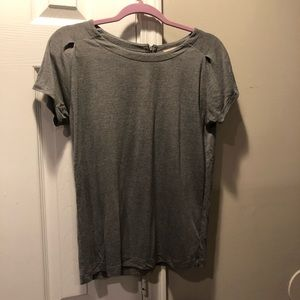 Gap SS zip back top XS Heather Gray